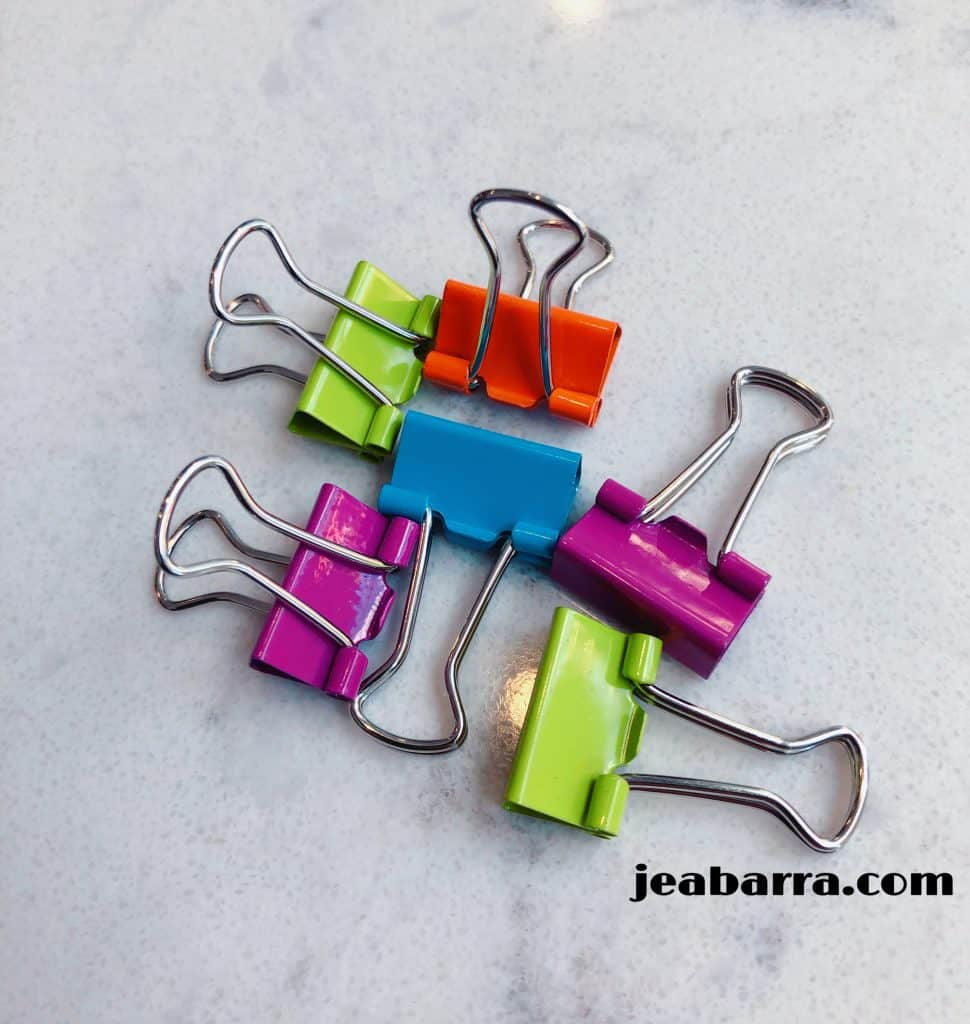 multi-colored binder clips