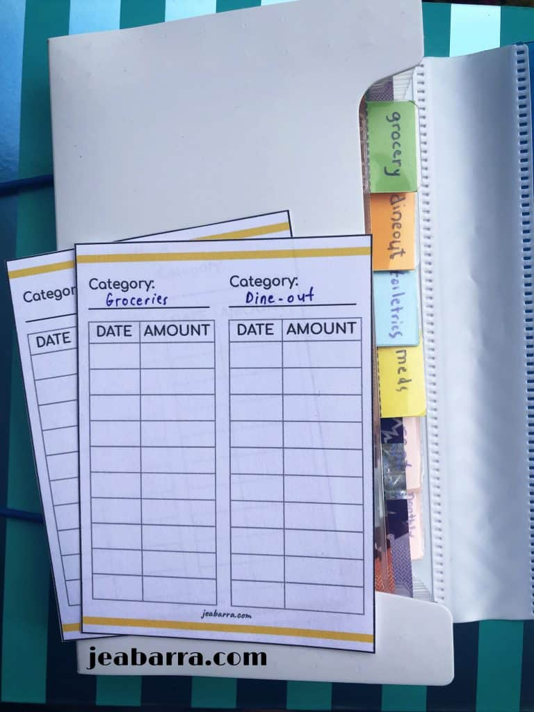 use of budget card in a cash envelope